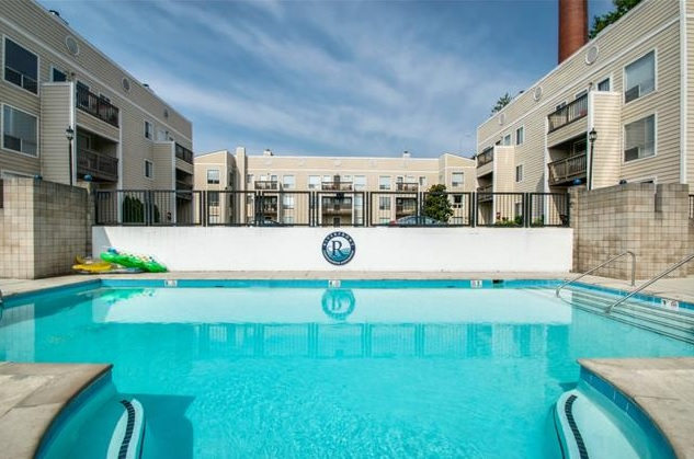 Riverfront condos pool